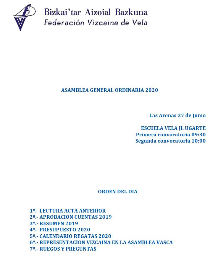 Convocatoria de la Asamblea General Ordinaria de la Federación Vizcaína de Vela