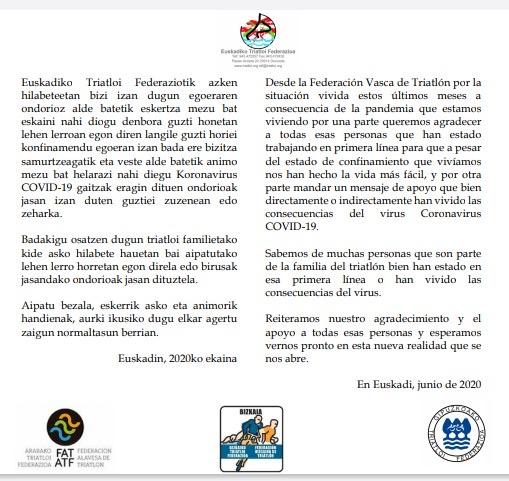 Nota de prensa de la Federación Vasca de Triatlón