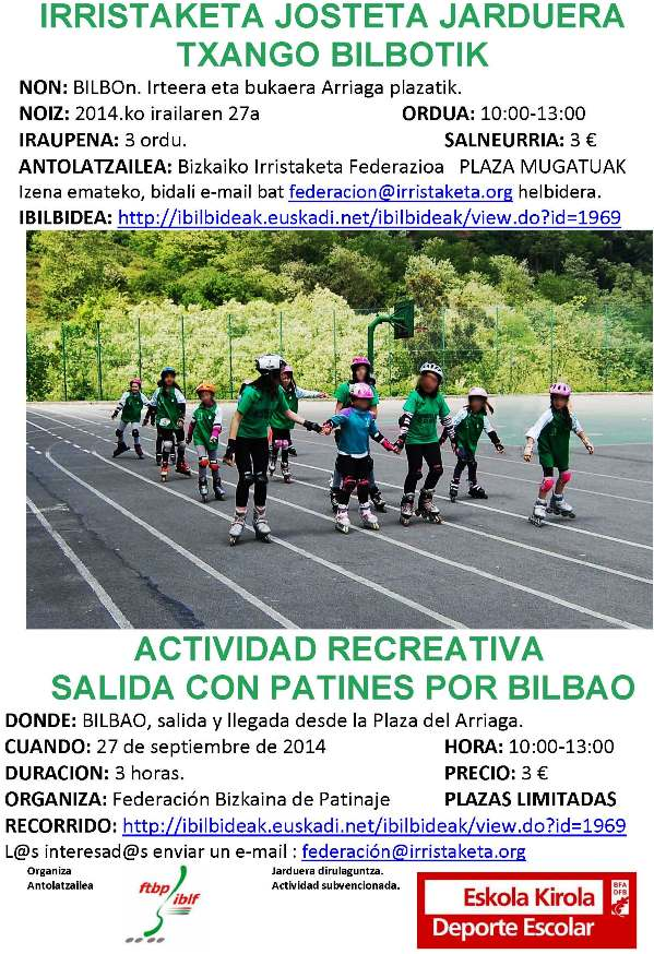 Salidas recreativas con patines para escolares curso 2014-2015